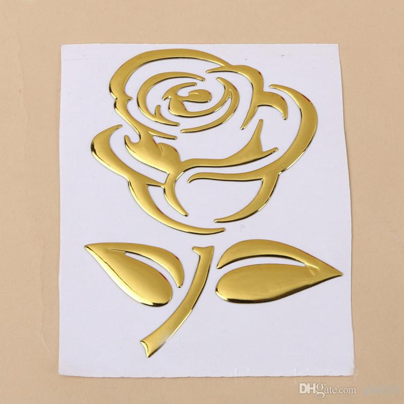 2018 rose design pvc car sticker decal gold silvery red color rose car stickers car logo sticker wholesale for vw for toyota buick honda from gh8520