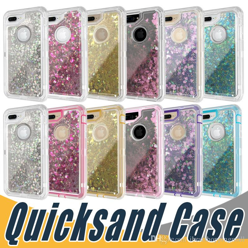 ca15efa80 3 In 1 Fashion Glitter Liquid Quicksand Case Crystal Defender Cover For IPhone  X Xr Xs Max 8 Plus Samsung S10 Plus Lite Note 9 S8 S9 Plus Mobile Phone  Cases ...