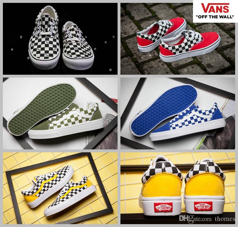 f96f7742e92f vans classic checkerboard old skool skateboard yellow black white canvas  sneakers