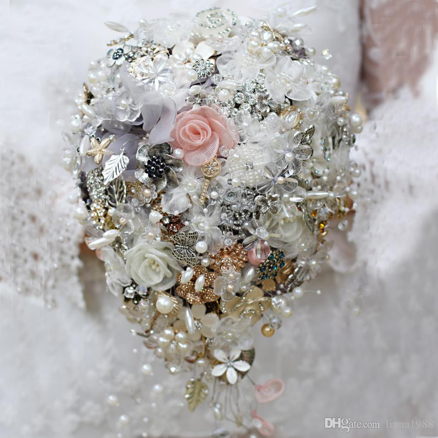 Iffo Custom Water Drops Hands Holding Flowers Bridal Bouquets Pearl ...
