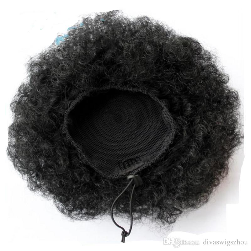 Human Hair Afro Puff Ponytail Extensions for Black Women Kinky Curly Drawstring Hair Ponytail Hairpieces Natural Kinky Curly Clips Ponytails