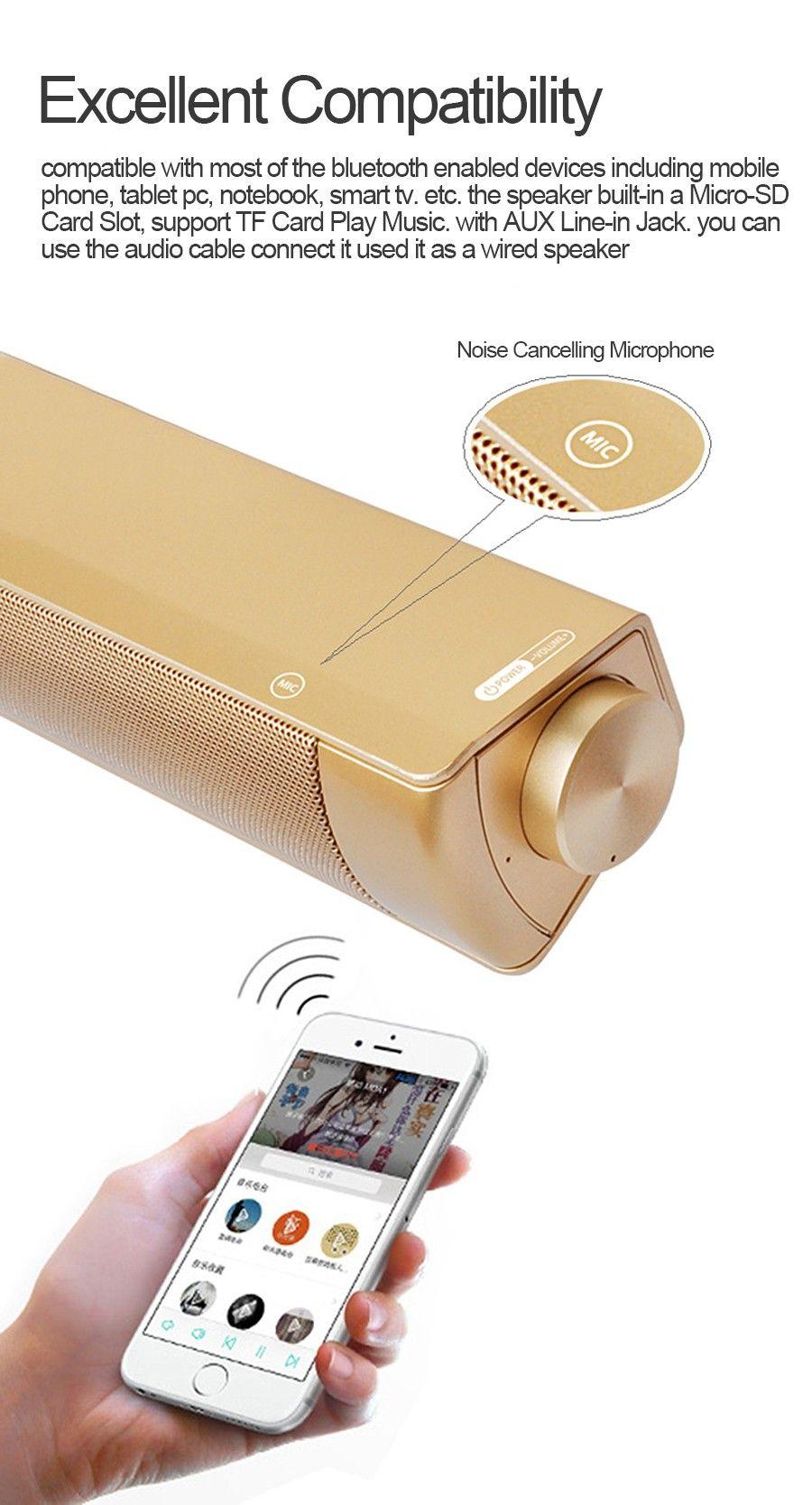 10 W LP08 Bluetooth Kablosuz Hoparlör Soundbars Handsfree konuşma HIFI Kutusu Subwoofer'lar Boombox Stereo TV PC laptop için Taşınabilir ses çubuğu