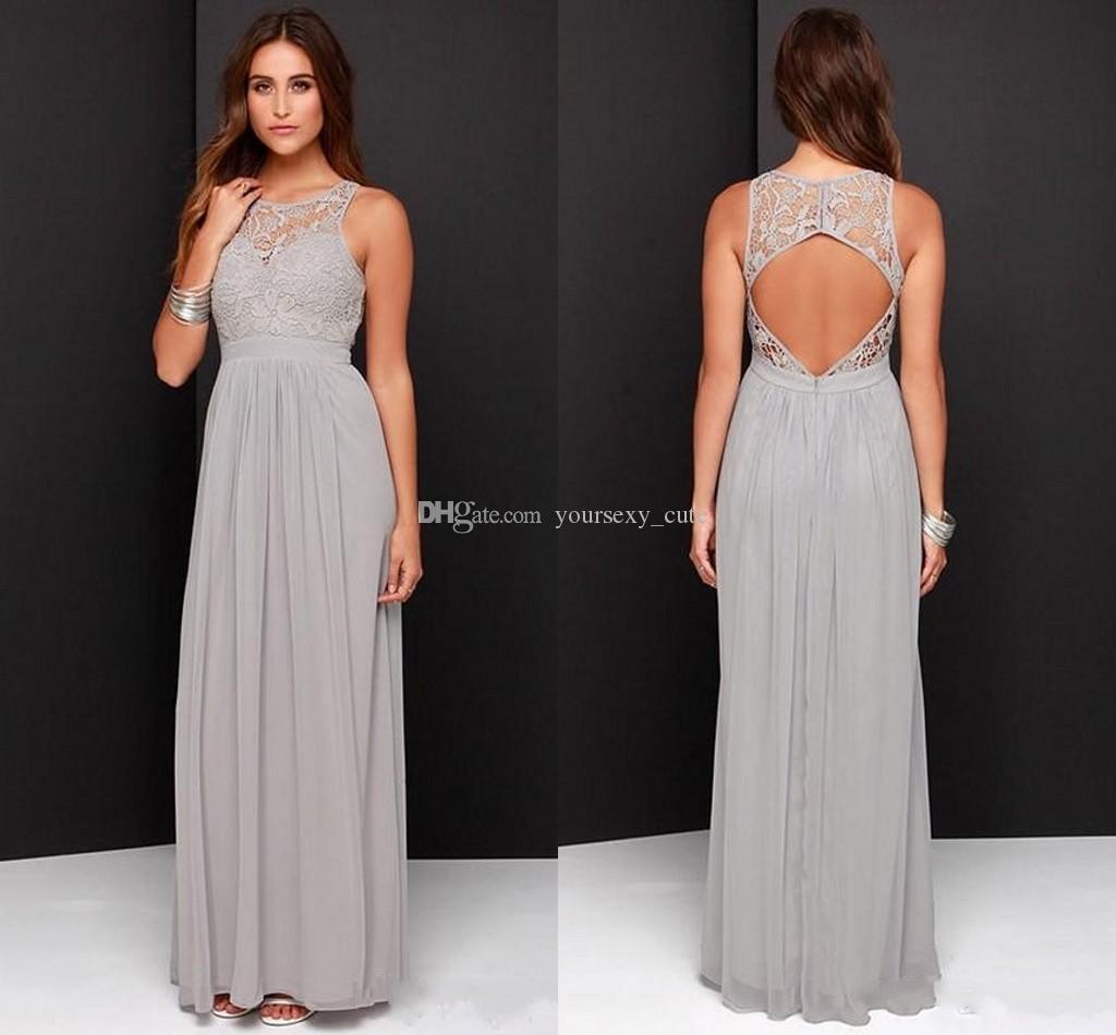 2017 silver gray long bridesmaid dresses scoop lace chiffon floor 2017 silver gray long bridesmaid dresses scoop lace chiffon floor length open back cheap wedding guest dresses maid of honor raspberry bridesmaid dresses ombrellifo Choice Image