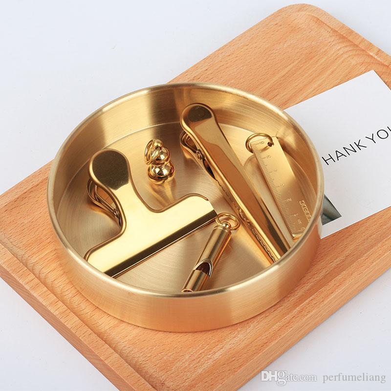 Nordic Chic Style Metallo Rame Ottone Rotondo In Ottone Ovale Custodia Tè e Vassoio Portagioie Decorazione la casa ZA5510