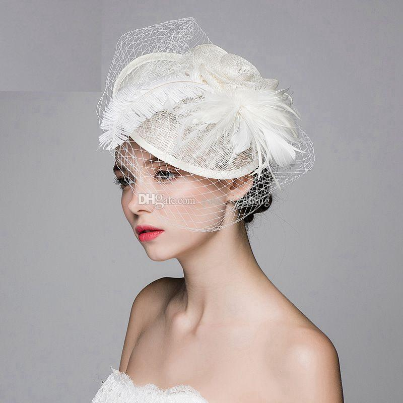 Cream Ivory Wedding Bridal Hat Veil Wedding Birdcage Veil Brooch Bridal Hair Headpiece Fascinator Wedding Bridal Accessories