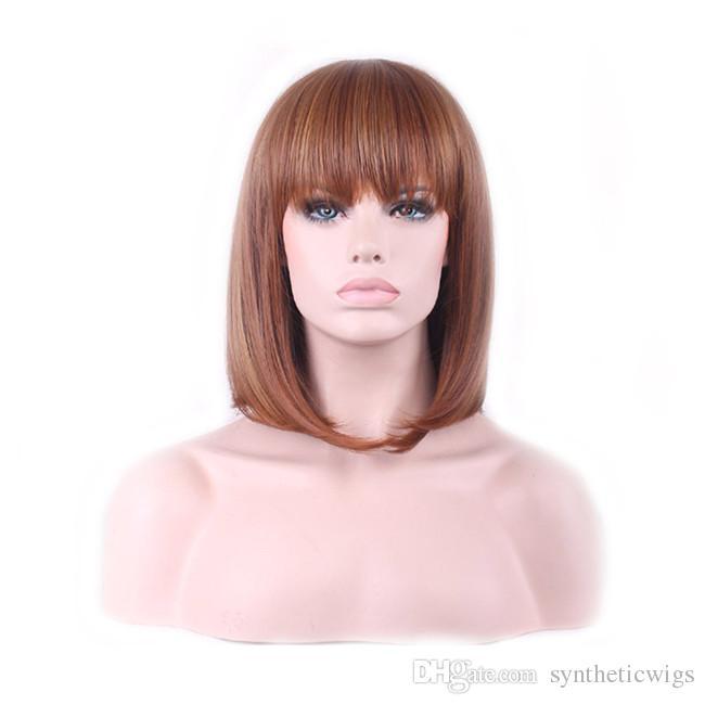 WoodFestival Frauen Kunsthaarperücken hitzebeständige Kunstfaserperücke 35cm kurze braune Perücke mittlerer Länge schulterlanges glattes Haar