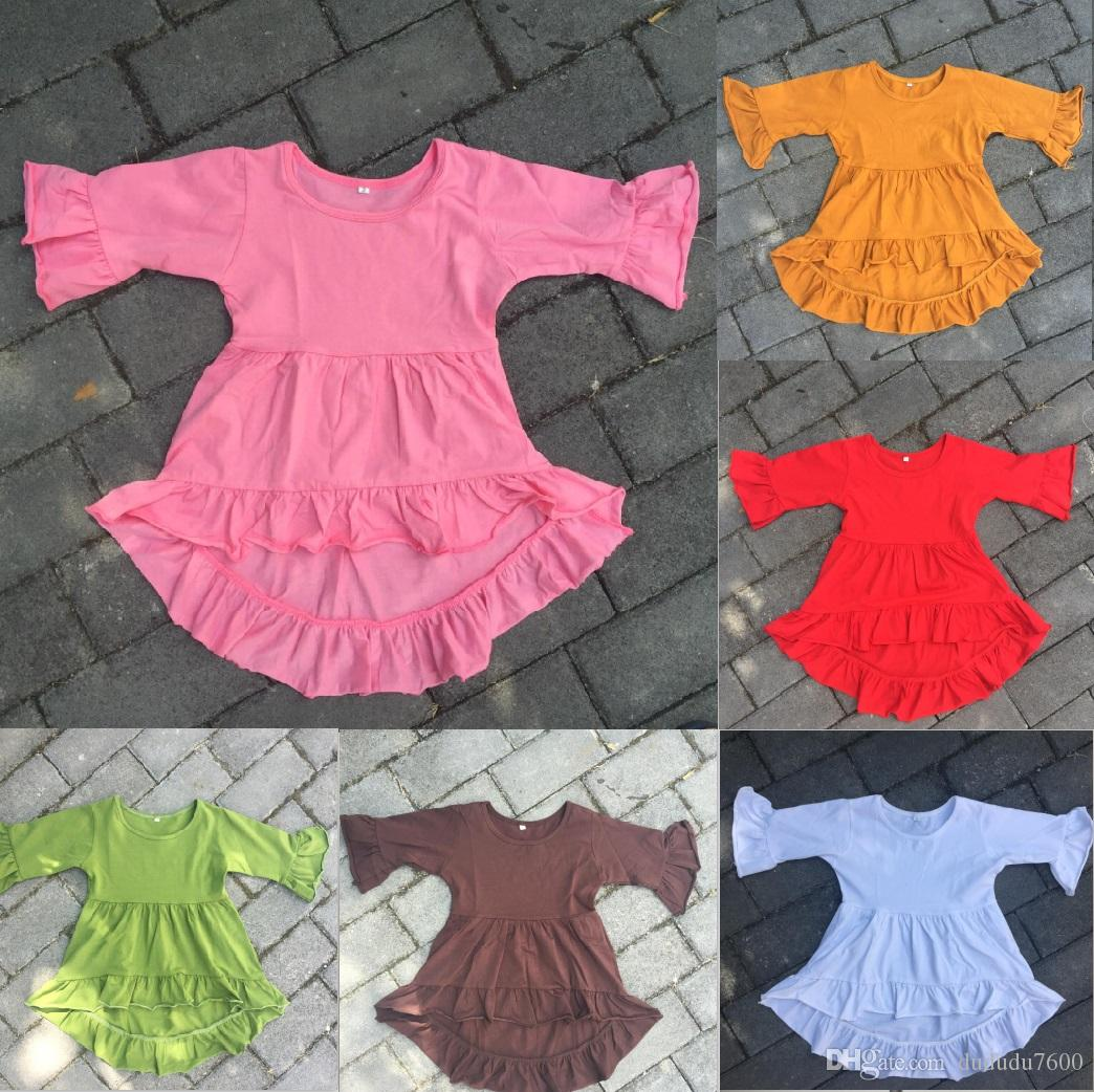 Baby High Low Top Abito bambina a manica lunga Kids Party Dress Cotton Frocks Design