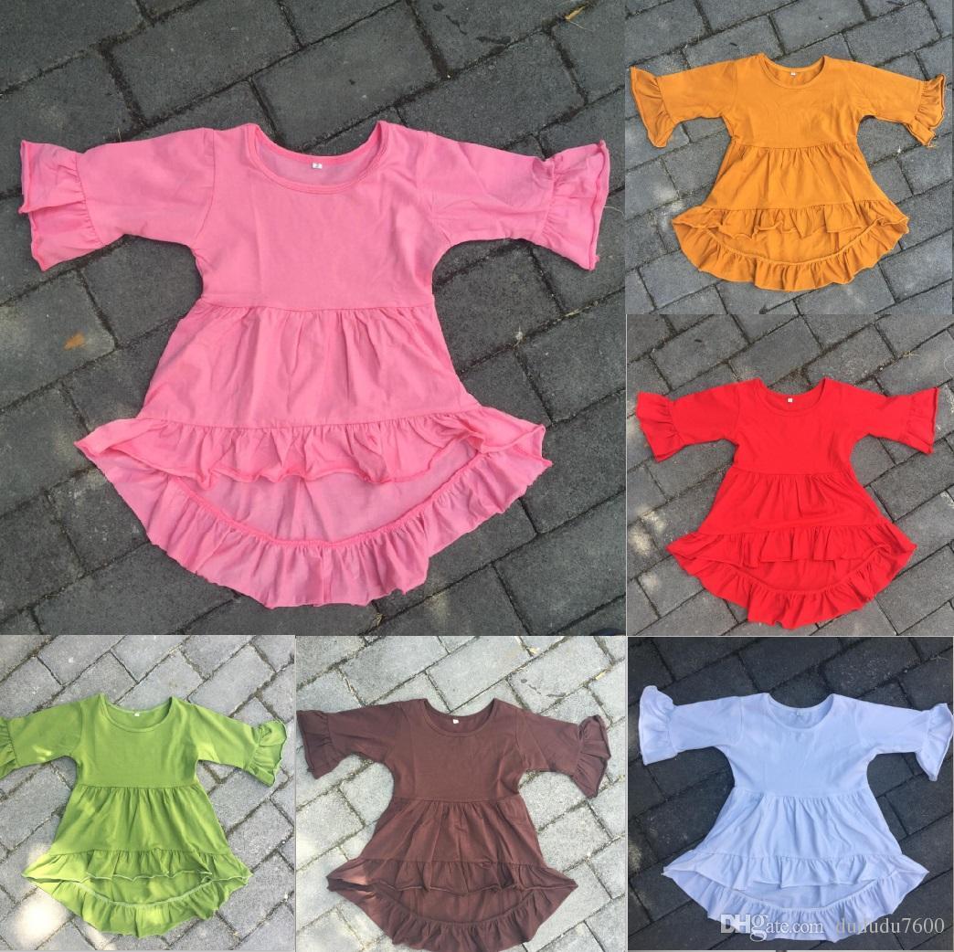 vestito estivo 0-12 anni ragazze bambino bambini boutique stile casual vestito all'ingrosso bambini alta bassa tunica manica corta