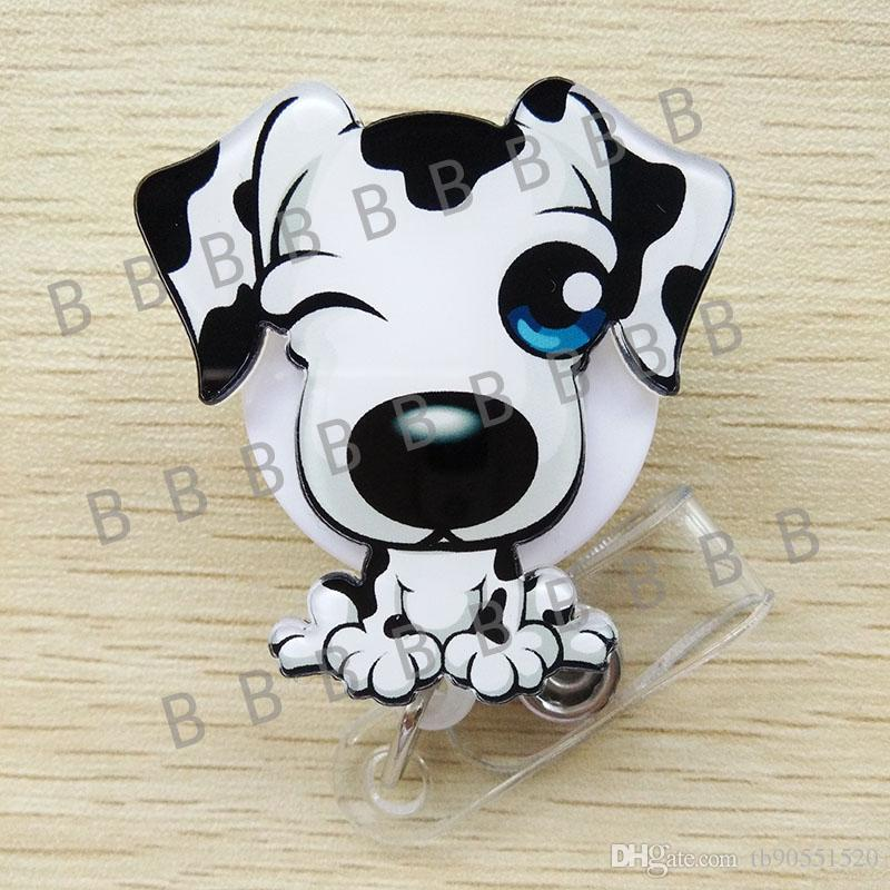 Cute Cartoon Dog Retractable Badge Reel Exihibiton ID Name Card Badge Holder Office Supplies