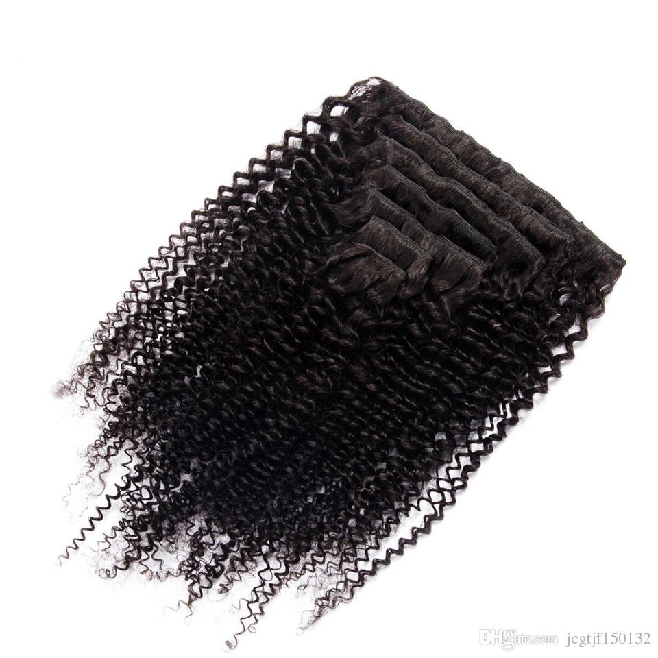 인간의 머리카락에서 몽골 킨키 곱슬 머리 클립 70g 노 일 컬러 클립 - 전체 머리 비 - 레미 머리카락