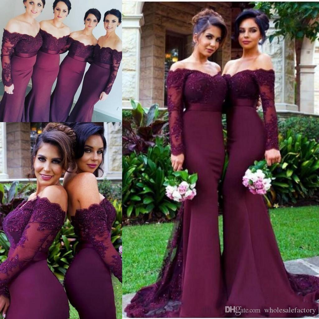 c65e39e4f86bc 2018 Burgundy Long Sleeves Mermaid Bridesmaid Dresses Lace Appliques Off  The Shoulder Maid Of Honor Gowns Wedding Guest Dresses With Buttons Bronze  ...