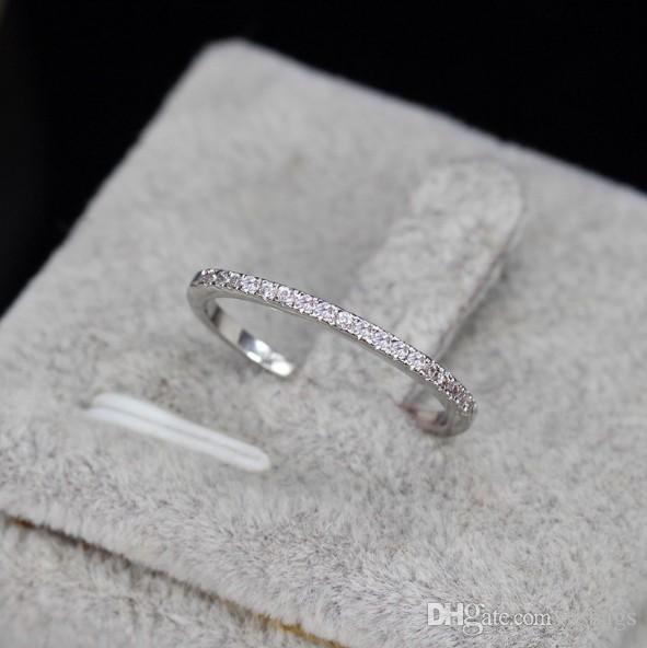 Haute qualité en gros peut se chevaucher simple bague de mariage de mode zircon pour éviter les allergies cadeau à amoureux