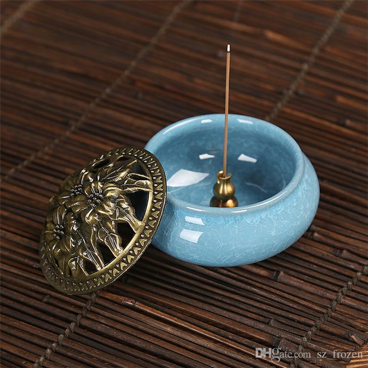 Celadon ceramic Buddha incense base copper alloy antique incense burner incense sandalwood