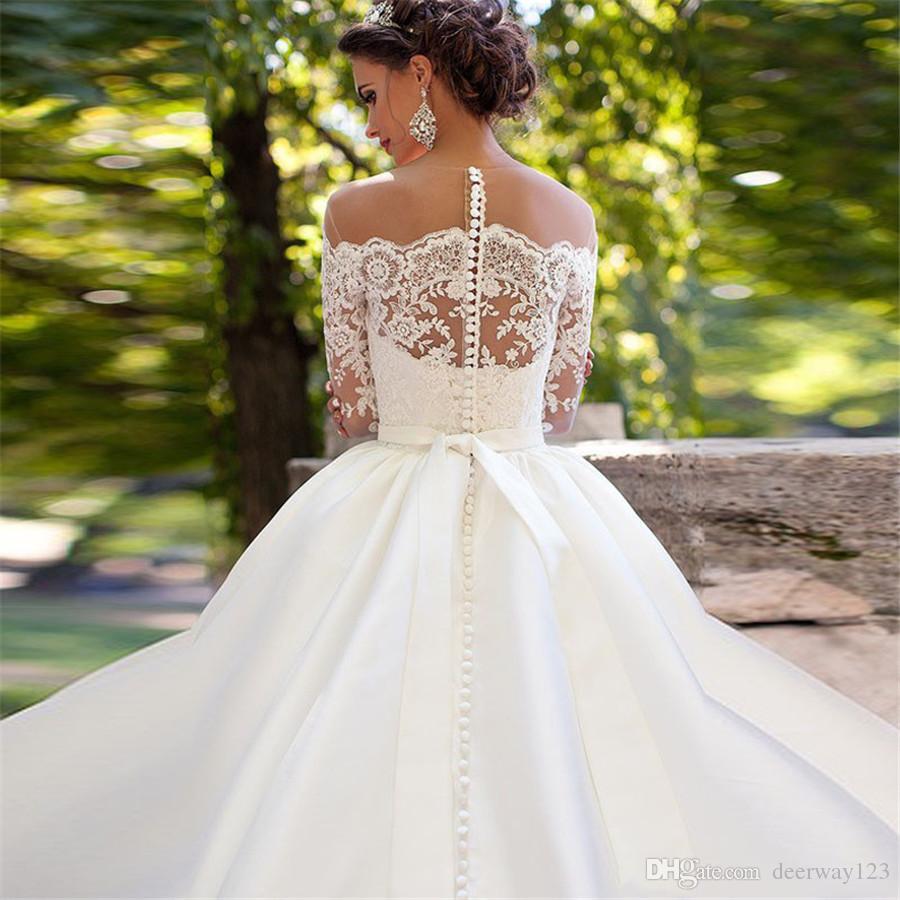 2019 heiße Verkaufs-Brautkleid-Vestido Novia weg von der Schulter Ballkleid Brautkleid voller Hülsen-Weinlese-Plus Size Lace-Brautkleider