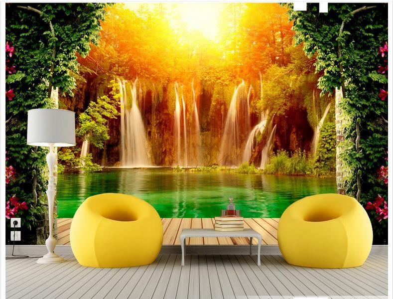 3D photo papier peint peintures murales personnalisées papier peint murale Chute d'eau Pastoral Paysage 3D Toile de fond peinture murale papier salon décor mural