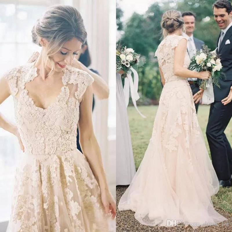 4642a61501 Discount Elegant Garden Country Wedding Dresses 2017 Champagne Tulle Lace  Appliqued Capped Sleeve Reem Acra Bridal Gowns Custom Made Lace A Line  Wedding ...