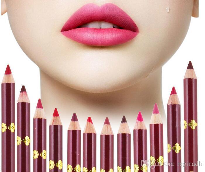 12 لون الشفاه بطانة ماتي أحمر الشفاه قلم ماء كحل السائل يشكلون الشفاه مجموعة الشفاه قلم رصاص
