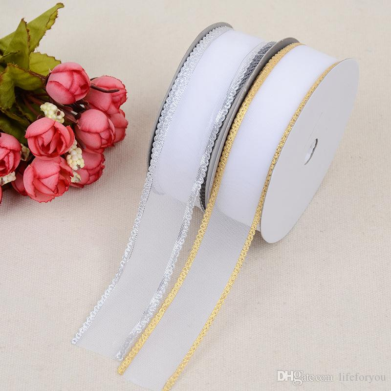 wedding decorations centerpieces wedding supplies birthday party favors ribbon roll wedding accessories gold silver gift packaging 2.5cm*20Y