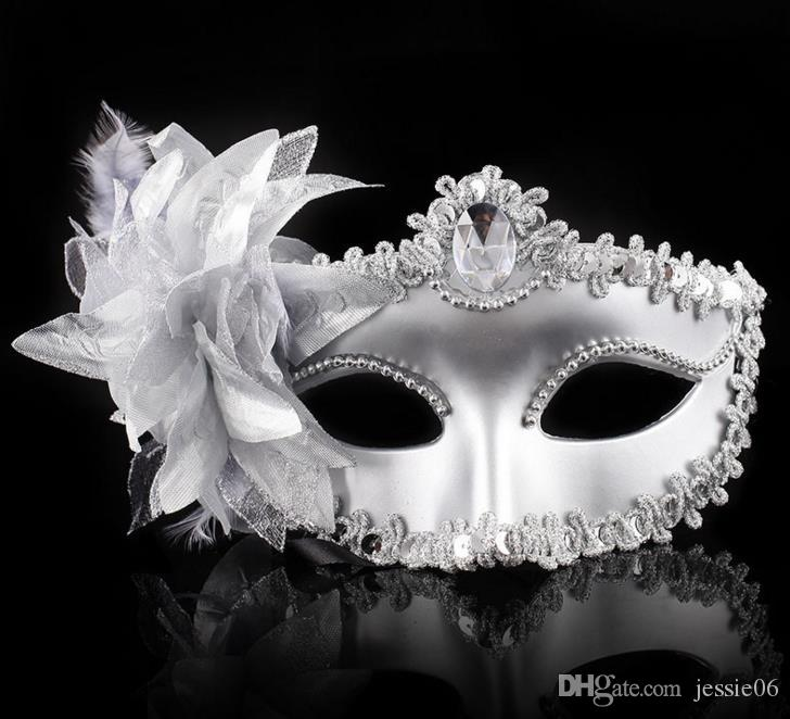 Máscaras venecianas Dance Ball Mask Wedding Party Disfraz eyemask Stick Sticks Lily Flower Lace Feather Held Stick Mask