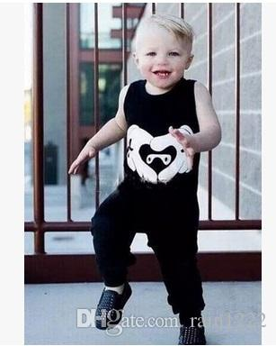 New Baby Boys Vest Pants Outfits For Babies Kids Cotton Black Tops Tees Trouser Suits Infants Toddlers Sleeveless Cothes Set For 0-3T