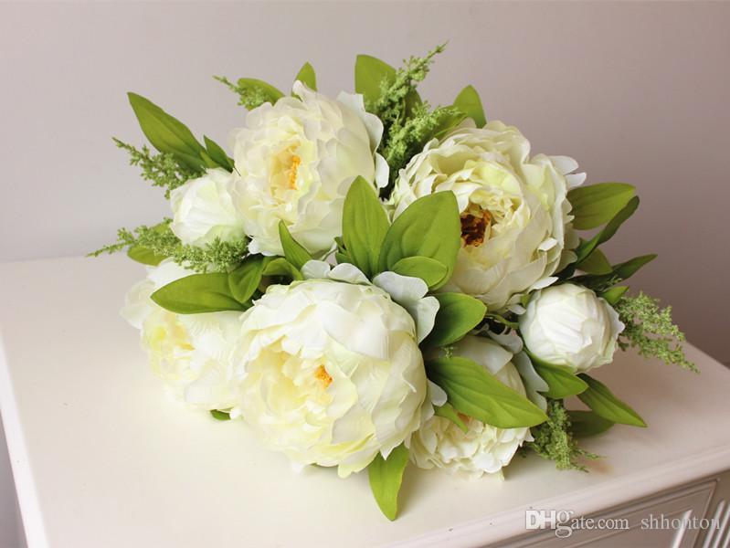 아름다운 모란 꽃 홈 장식 손으로 만든 인공 모란 무리 꽃 신부 액세서리 정원 대량 주자 7 개 꽃 모란 머리