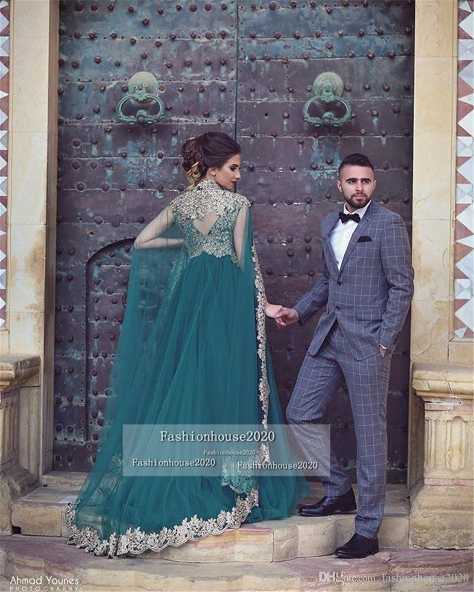 2018 Hunter Green Arabic Muslim Evening Dresses Long Sleeves Appliques Two Piece With Wrap Formal Prom Dress Plus Size Dubai Party Gowns