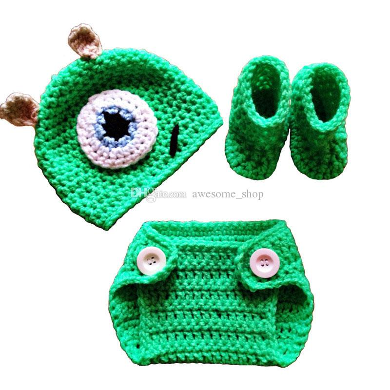 Recién nacido Mike Monster Outfit, hecho a mano de punto Crochet Baby Boy Girl Monster Hat Cubierta de pañal Botines Set, Disfraz de Halloween, Infant Photo Prop