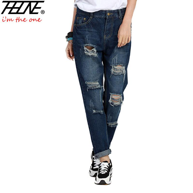 eaab84d3a9755 2019 Wholesale Plus Size 5XL Street Style Boyfriend Jeans Women Denim Pants  Destroyed Holes Casual Fashion Loose Fit Torn Ripped Jeans Female From  Baica