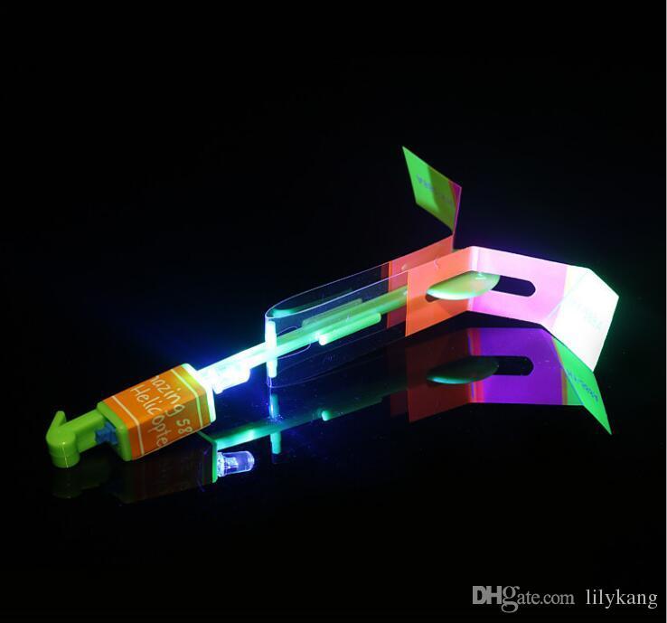 Flash LED Copter Slingshot hélicoptère Flare Glow Sling flèche décochée Copter Glitter Light Emitting flèche Led volant flèche enfants hélicoptère jouets
