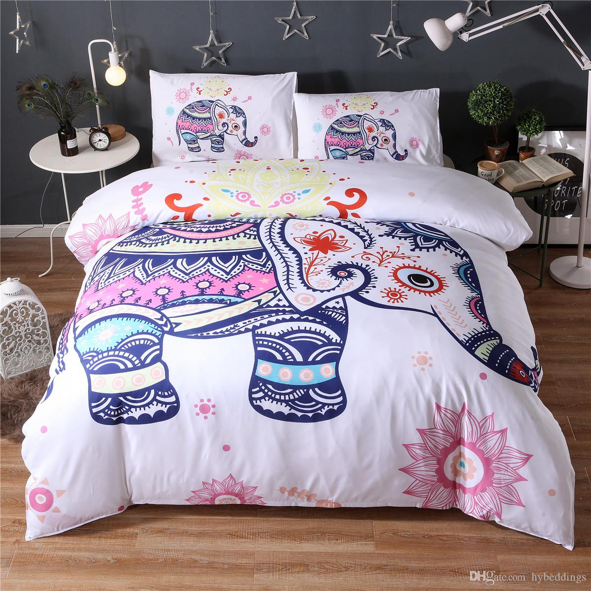Small Cute Cartoon Elephant Bedding Set White Duvet Quilt