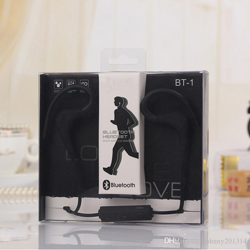 Yeni BT-1 Spor Bluetooth Kulak Kancası Tarzı Kulaklık Kulak 3.5mm jack Univeral Perakende Kulaklık Ile iPhone Samsung Için Kablosuz Kulaklık