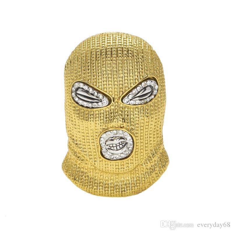 Hip Hop CSGO Pendentif Collier Hommes Style Punk Alliage Or Argent Plaqué Masque Tête Charme Pendentif Cubain Chaîne livraison gratuite