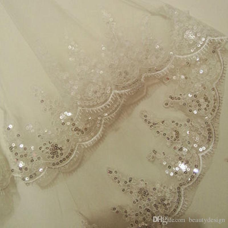 Fingertip Length Beautiful Wedding Veils Bridal Accessories 2017 In Stock Hot Sale Two-Layer Bridal Veils with Comb