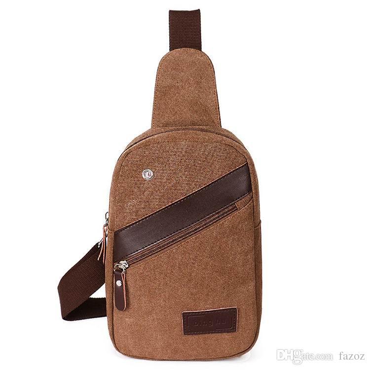 Canvas Male Bag Unbalanced One Shoulder Sling Backpack Casual Cross Body Chest Bag for Phone Single Shoulder Bag for Student