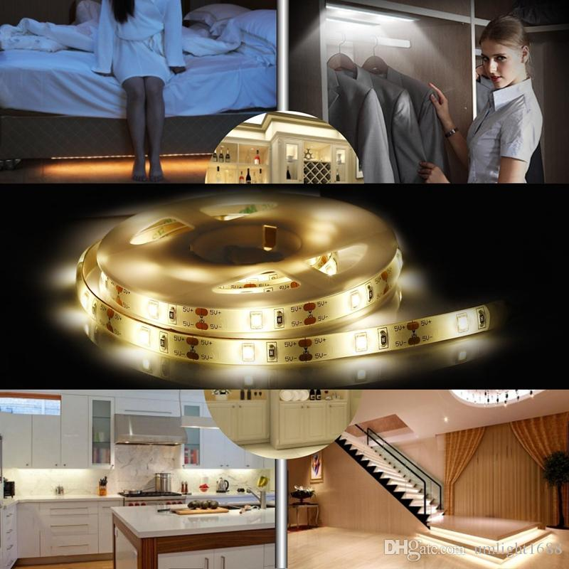 Umlight1688 Battery Sensor LED Strip Night Light Light Motion Activated Induction Bed Light With Automatic Shut Off Timer Warm White