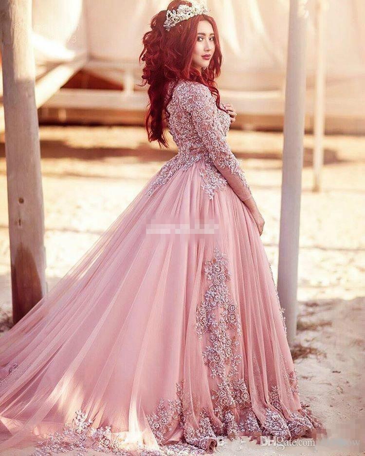 2017 lusso arabo sexy rosa sheer maniche lunghe abiti da sera in pizzo tulle applique in rilievo pavimento lunghezza formale abiti da ballo di promenade