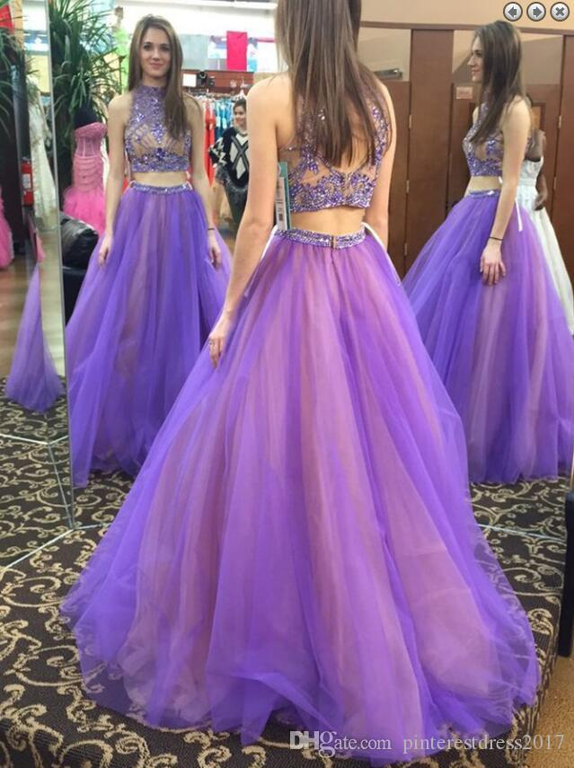 2017 Long Purple Lavender Prom Dress With Crystals Evening Dress