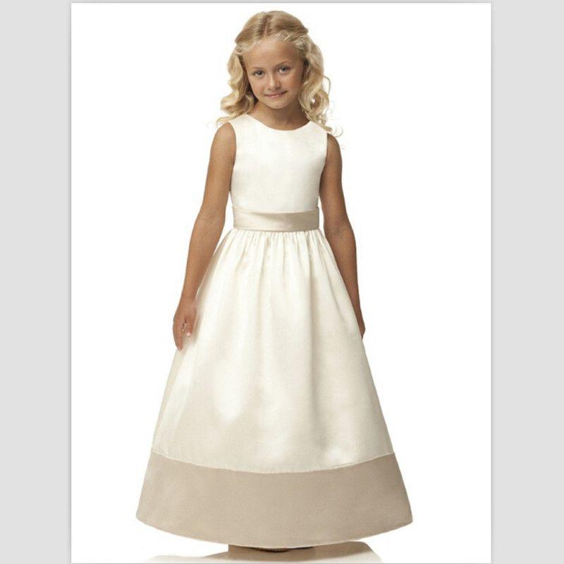 d6db614fa 2019 Hot Sale First Communion Dresses White Girls Pageant Dresses Vintage Ivory  Satin Flower Girl Dresses For Wedding With Belt Little Girls Dresses For ...