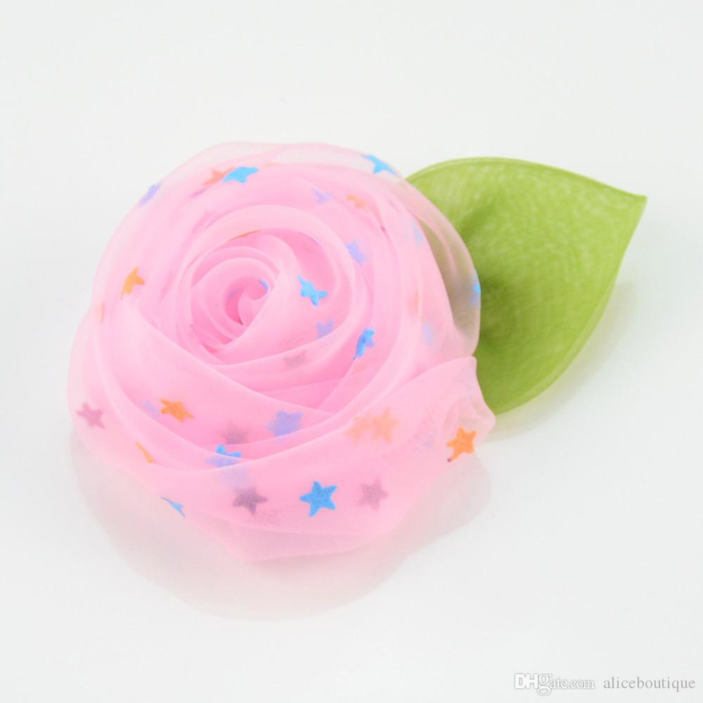 The new high quality hair accessory Mesh Rose with leaf clip Flowers Hair Flowers Corsage H0245