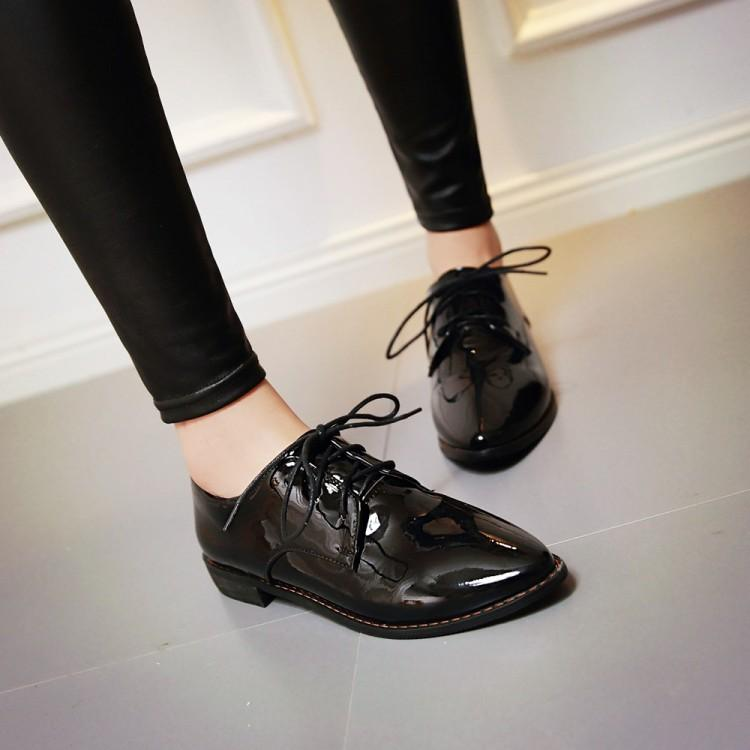 Black Small Leather Female Work Shoes British Style Vintage Women S
