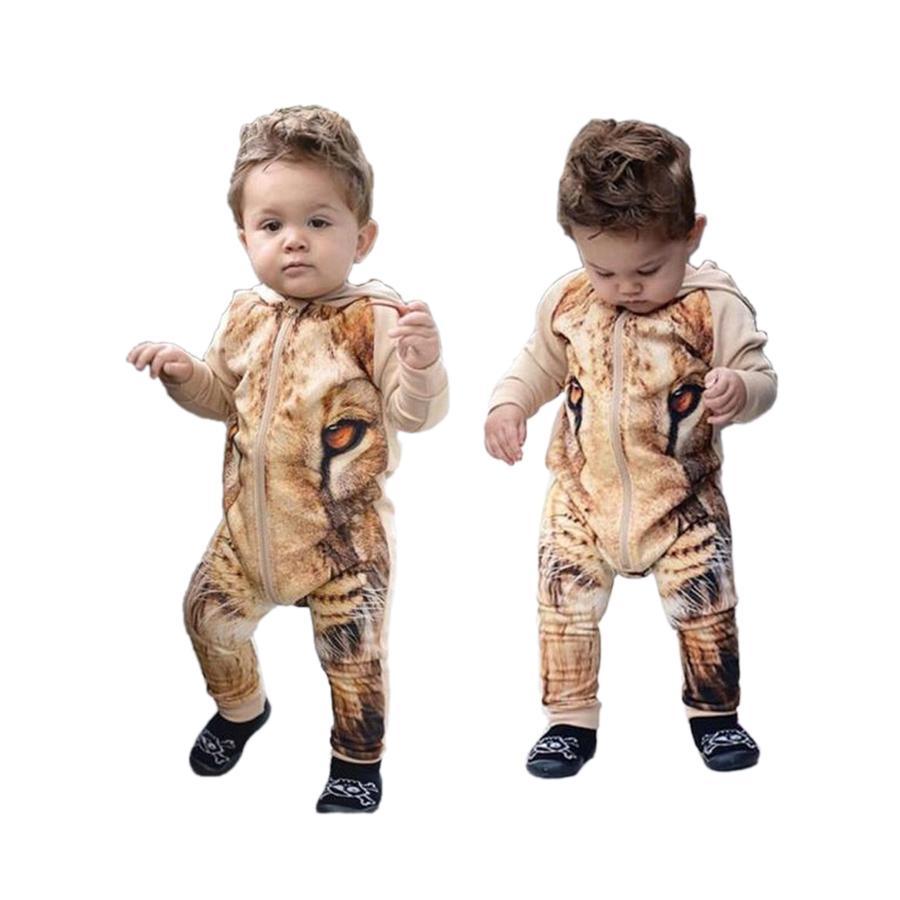 e8c7a2140b46 Cute One-piece Baby Romper 3D Lion Pattern Print Cotton Onesie ...