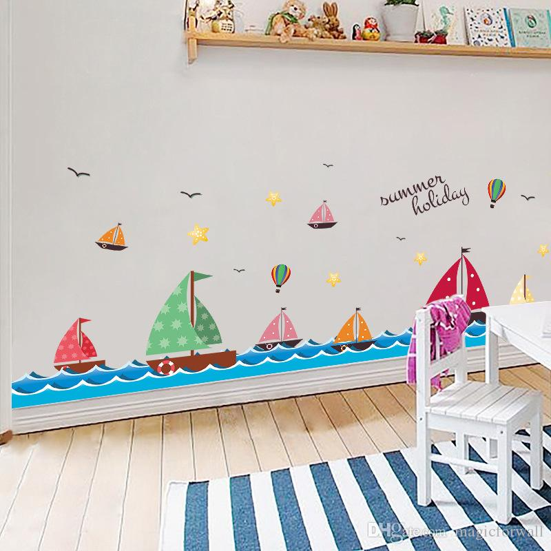 Sailing Ship on Sea Wall Stickers Kids Room Nursery Wall Border Decals Star Birds Hot-air Balloon Water Wave Wallpaper Poster Home Decor