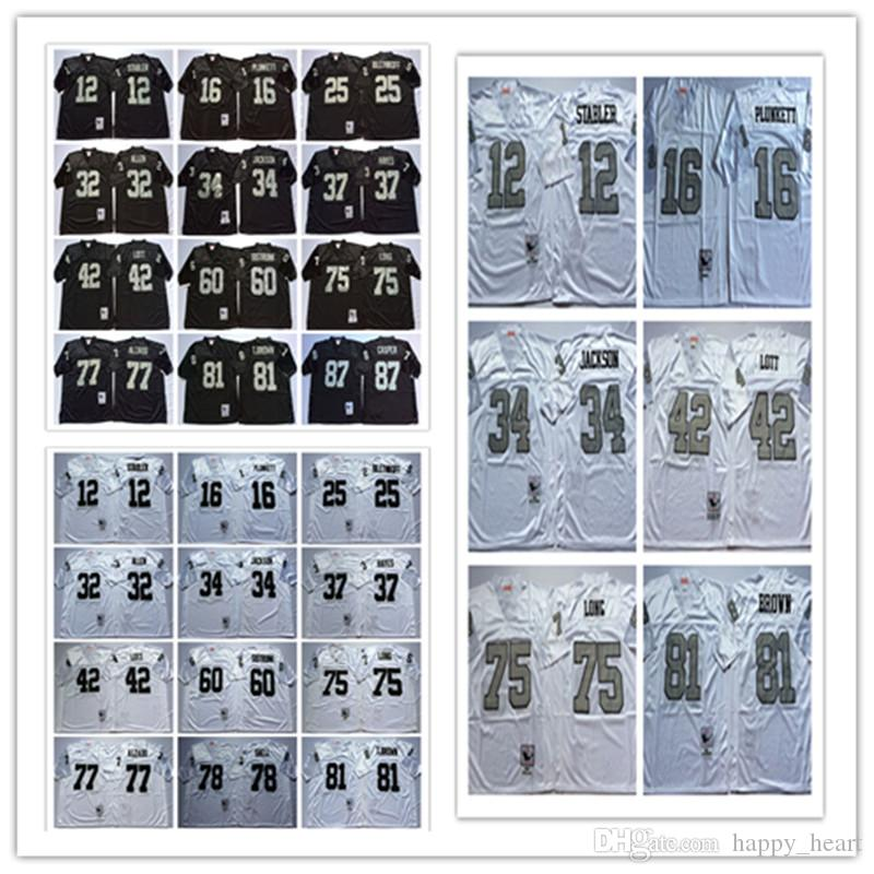 3bcfa531e 2018 Throwbacksed Oakland Raiders 12 Ken Stabler 25 Fred Biletnikoff 34 Bo  Jackson 42 Ronnie Lott 75 Howie Long 81 Tim Brown Mens Jersey From  Lixujersey, ...