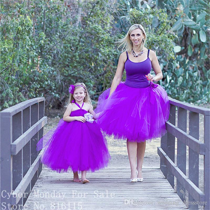 New Arrive Purple Color Ball Gown Evening Dresses 2018 Custom Made High Quality Puffy Mother and Daughter Dress Short Praty Gowns