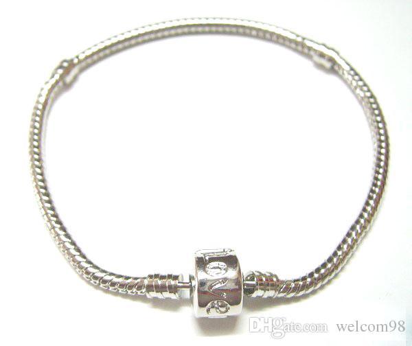 10st / Silverpläterad Bangle Armband Snake Chain med fatlås för DIY European Beads armband C16