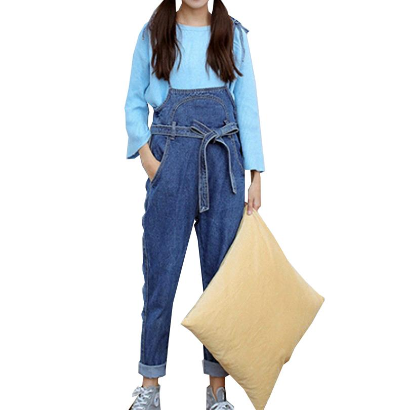 bf97e596c0ca 2019 Wholesale Retro Style Solid Blue Jean Jumpsuits Fashion Big Pocket Capri  Jumpsuit Casual Lacing Strap Rompers 2017 Women Denim Overall From  Odeletta