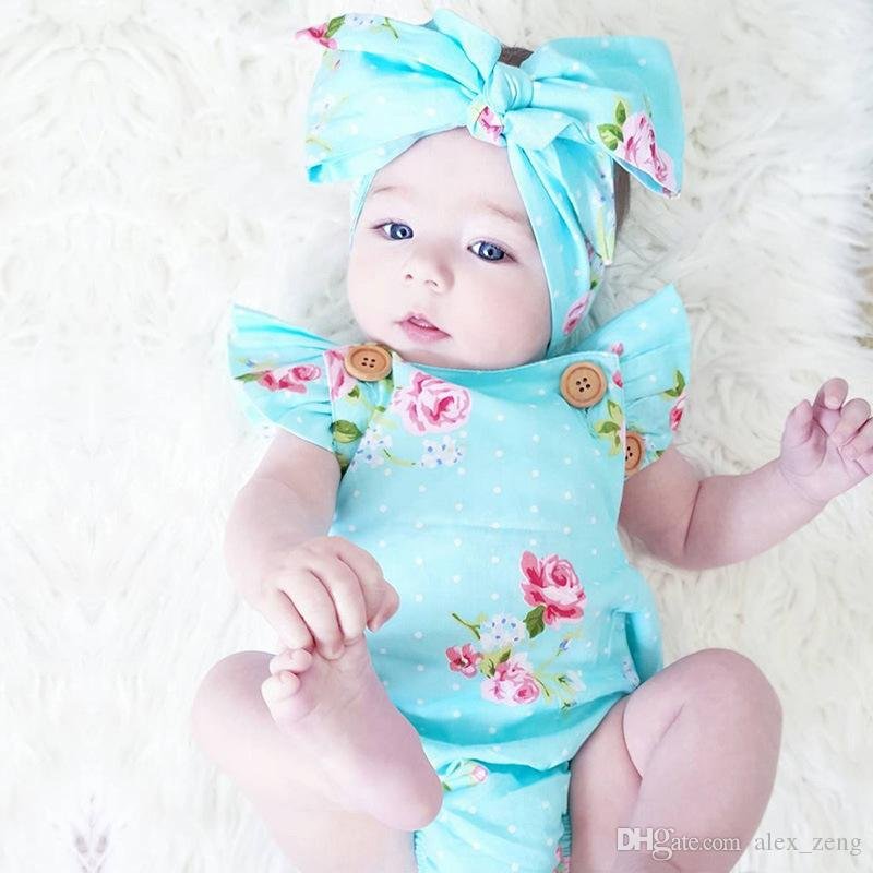 6 Styles Infants Baby Girl Floral Rompers Bodysuit With Headbands Ruffles Sleeve Set Buttons 2017 Summer INS Romper Suits 0-2 years