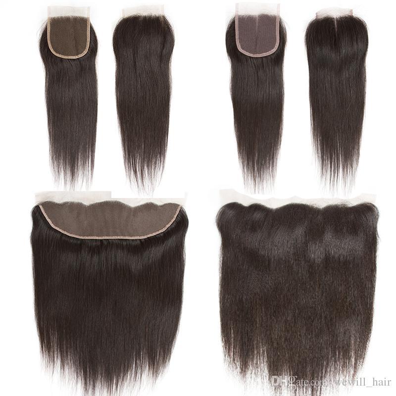 Brasilianische Reine Haarkörperwelle Gerades Haar Bundles mit Verschluss Remy Menschenhaarverlängerungen 3 Schüsse und 13x4 Spitze Frontal spinnt Verschluss