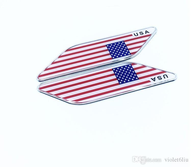 100 pezzi / lotto All'ingrosso di alluminio ITALIA INGHILTERRA USA AMERICANO GERMANIA Bandiera Emblem Chrome Car Decal Sticker Car styling door sticker