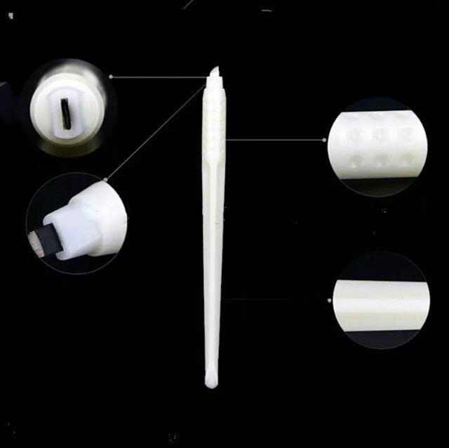 أعلى جودة 50 قطع ماكياج الدائم الأبيض الأقلام microblading المتاح مع 12/12/14/17/18 دبابيس الإبر التطريز شفرات